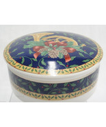 Mikasa Holiday Music Covered Candy Dish Trinket Box Porcelain Blue and Gold - $14.84