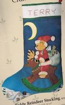 Candamar Teddy Reindeer Moon Santa Crewel Needlepoint Stocking Kit 40206 R - $112.95