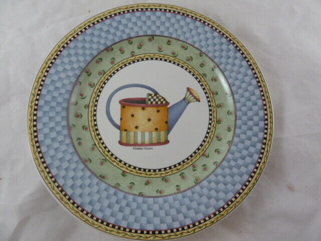Primary image for SAKURA PLATE  WATERING CAN by DEBBIE MUMM 8 1/4 INDONESIA Stoneware 1999 dots