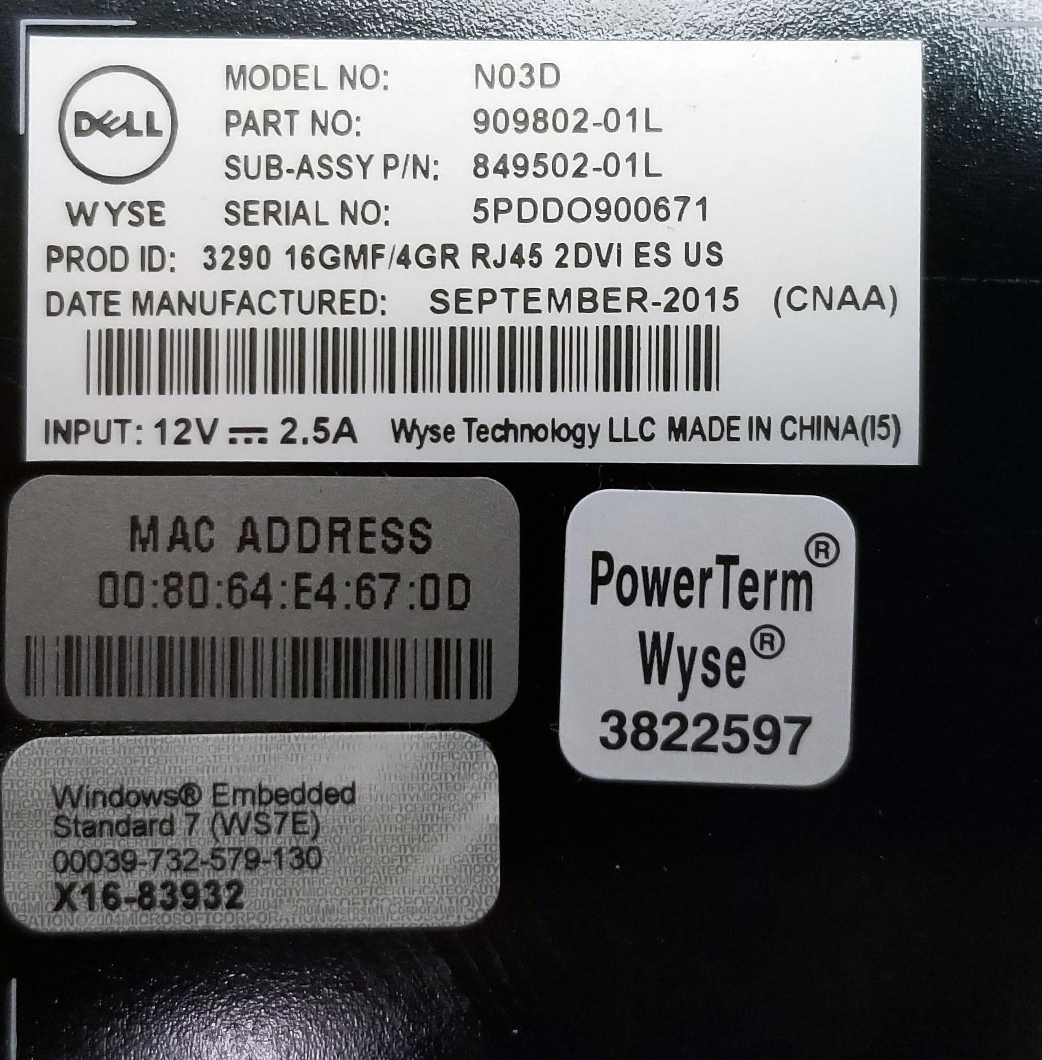 Dell Wyse N03D Thin Client (Celeron 1.58GHz Dual Core 16GB SSD, 4GB DDR3) Bin:5