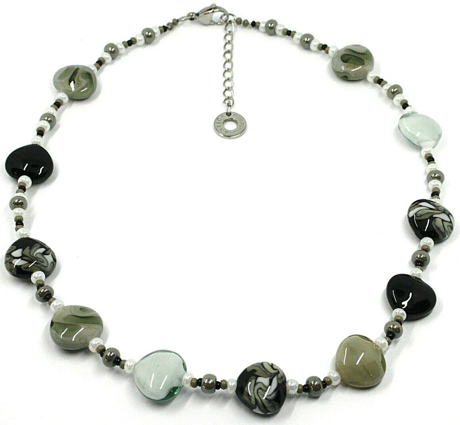 Necklace Antica Murrina Venezia,COA54A15,Hearts,Gray Black, 45 CM
