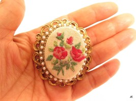 Floral Petit Point Rose Flowers Vintage Gold Plated Pendant & Brooch Pin... - $19.79