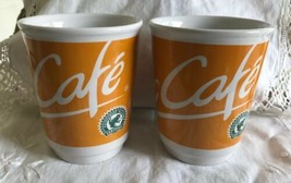 McCafe McDonald's German Coffee Mug Cup Orange & White 2008 Lot 2 Ceramic - $21.78