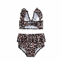2Pcs Set Toddler Baby Girl Swimsuit Floral Leopard Ruffle Swimwear Bikin... - $14.10