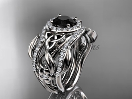 Double Band Black Diamond Platinum Celtic Trinity Knot wedding Set CT7300S - $4,850.00