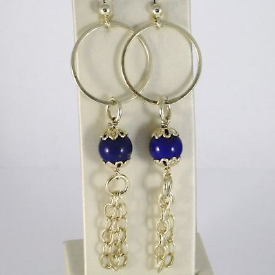 Silver EARRINGS 925 Laminate Gold Pendant with Lapis Lazuli Lapis Blue
