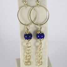 Silver EARRINGS 925 Laminate Gold Pendant with Lapis Lazuli Lapis Blue image 1