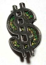 Green Dollar Sign Fine Pewter Pin - 7/8 inches long X 5/8 inches wide (T250) image 3