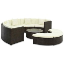 vidaXL Outdoor Sofa Set 25 Piece Poly Rattan Brown Wicker Outdoor Lounge... - $756.99