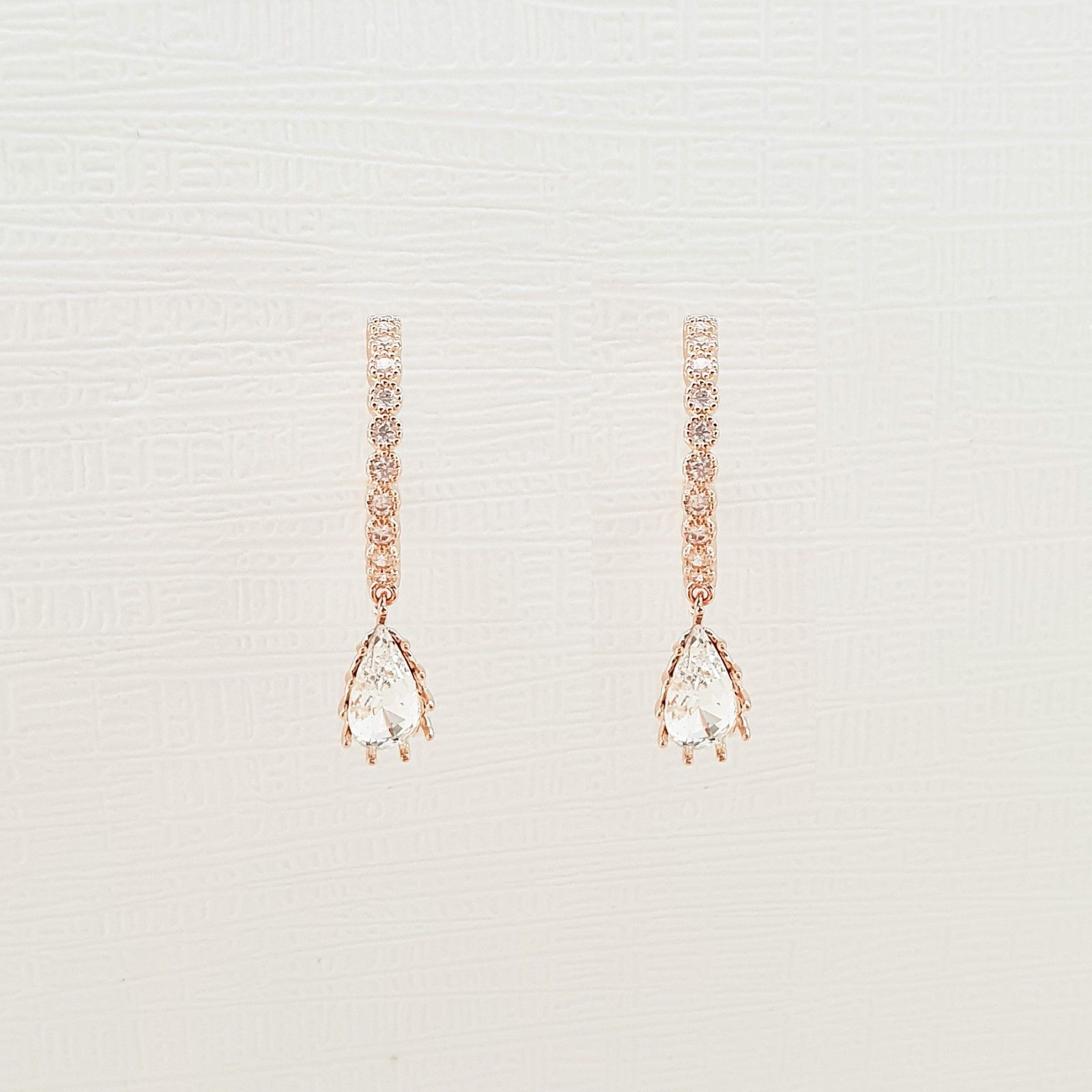 Hoop Water Drop Made With Swarovski Crystal Dangle Earrings Rose Gold Tone Pink image 2