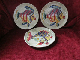 Tabletops unlimited Under the Sea  set of 3  dinner plates very slight crazing - $48.46