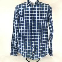 Zara Mens Button Front Shirt Sz Med Blue White Striped Long Sleeve Relax... - $18.55