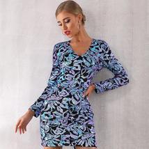 Sexy Sequin Long Sleeve Mini Luxury Club Dress
