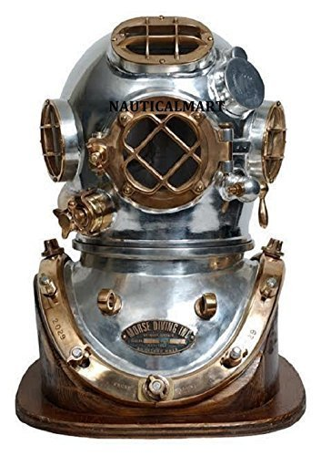 "Primary image for 18"" Antique Morse Scuba Diving Divers Helmet US Navy Mark V With Wooden Base"