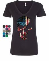 Skull Americana Women's V-Neck T-Shirt Patriotic 4th of July Stars and S... - $16.20+