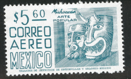 1976 Michoacan Masks Mexico Airmail Stamp Catalog Number C477 MNH