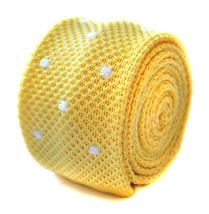 Frederick Thomas knitted skinny pale yellow lemon & white spot mens tie FT1885