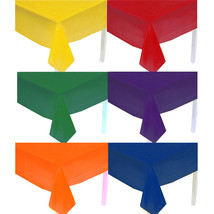 Solid (12) Assorted Colors Rectangle Plastic Table Covers Tablecloths Party - £18.24 GBP