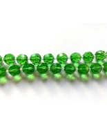 50s Vintage Emerald Green Faceted Glass Crystal Bead Choker Necklace - $37.00