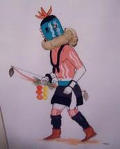 KAI-SA Percy Sandy Native Original Signed Watercolor Art Gouache ZUNI BO... - $575.00
