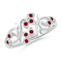 0.15ct Nature Inspired Pave-Set Ruby Leaf and Vine Ring in Gold - $593.10