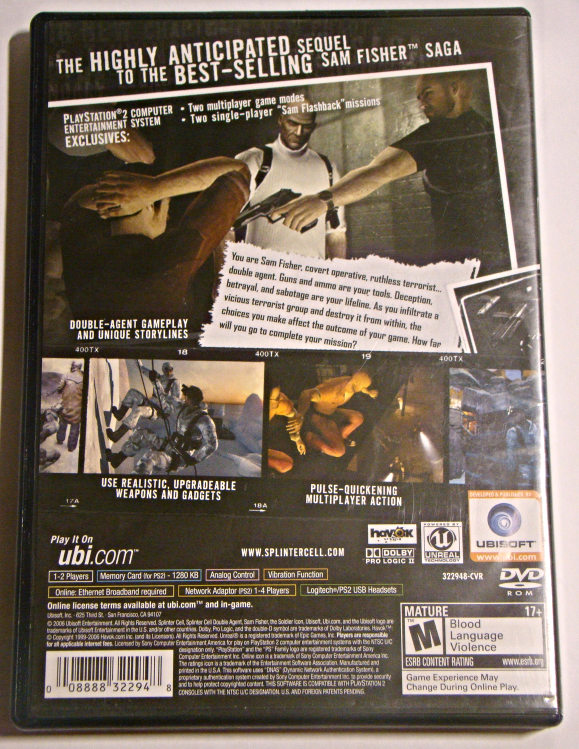 Playstation 2 - SPLINTER CELL - DOUBLE AGENT (Complete with Manual)