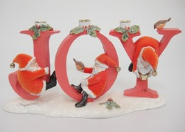 Marjolein Bastin Santas JOY Christmas Candle Holder 3 Hole Natures Sketc... - $19.79