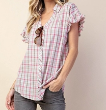 Plaid Button Down Shirt, Pink Plaid Shirt, Ruffle Sleeve Top, Colbert Clothing