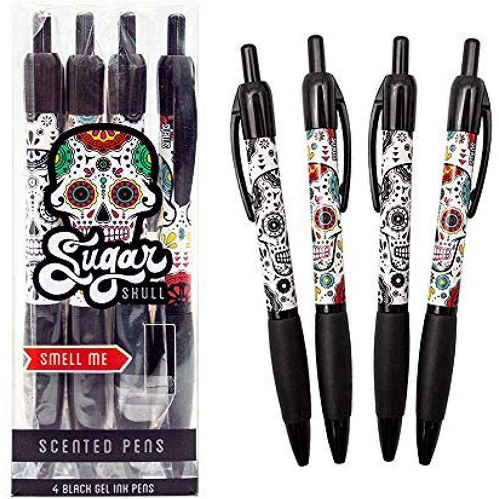 """Sugar Gel Ink Rollerball Pens Skull Smens - Scented Pens, Black Ink, Medium """" 4"""