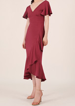 Red Cap Sleeve Long Cocktail Dress Chiffon High Waist Wedding Guest Shift Dress image 2