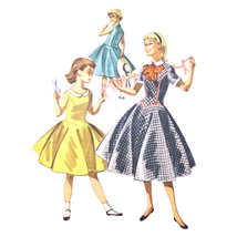 1950s Vintage McCalls Sewing Pattern 3486 Girls Flared Dress Contrast Co... - $7.95