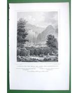 SWITZERLAND Tusis & Hohenrealta at Via Mala - 1853 Antique Print - $13.77