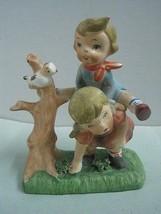 Antique  figurine sculpture statue faiance probablyGoebel Hummel two chi... - $31.21