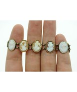 "Art Nouveau (ca. 1900) 14K Yellow Gold Bezel Set 11 Cameo Bracelet (6 5/8"") - $585.00"