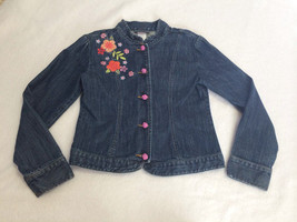 Gymboree Tea Garden Girls 10 Asian Floral Sequin Denim Blue Jean Jacket - $15.99