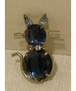 Vintage D&E DeLizza & Elster Juliana Sapphire Figural Silver-tone Cat Br... - $29.98