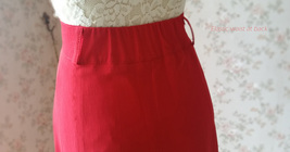 Double Slit Skirt Long RED SKIRT Lady Red High Waisted Party Skirt with Belt NWT image 9