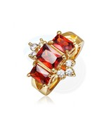 Size 8 Brass 18K Yellow Gold Plated Zircon Crystal Lady Women Ring - $8.70