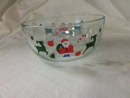 Vintage KIG Malaysia Snowy Scene Chirstmas With Santa Clear Glass Bowl - $3.99