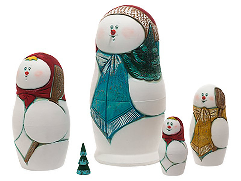 """Carved Snowman Nesting Doll - 6"""" w/ 5 Pieces"""