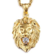 Men's Stainless Steel Gold Silver Lion Head Pendant Necklace - $39.39