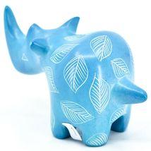 Vaneal Group Hand Carved Kisii Soapstone Blue Rhinoceros Figurine Made Kenya image 3