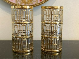 Vintage Imperial Glass Shoji Gold Highball Tumbler Glasses Set of 2 - $78.21