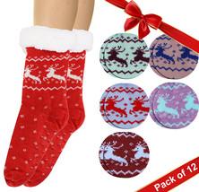 Women's Reindeer Sherpa Lined Non-Slip Winter Weight Slipper Socks Pack of 12