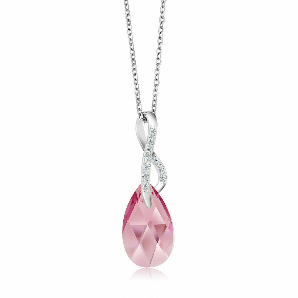 Beautiful Tear Drop Ribbon Pendant on 18inches Chain Made with Swarovski (Pink)