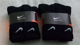 12 Pairs Nike Kids' Cotton Cushioned Crew Socks, Black Color, Sz. M 3-5Y(US) - $42.56