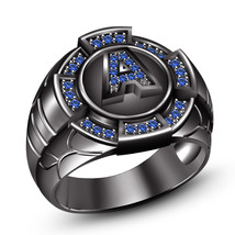Blue Sapphire Mens Letter A Initial Wedding Ring 14k Black Gold Over 925... - $108.99