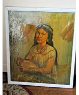 Original Oil painting Ethnic Art portrait of a Native Traditional woman ... - $371.25