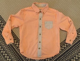 Boy's Eleanor Rose Button Up Long Sleeve Shirt Size 3-4 Orange And Tan C... - $20.56