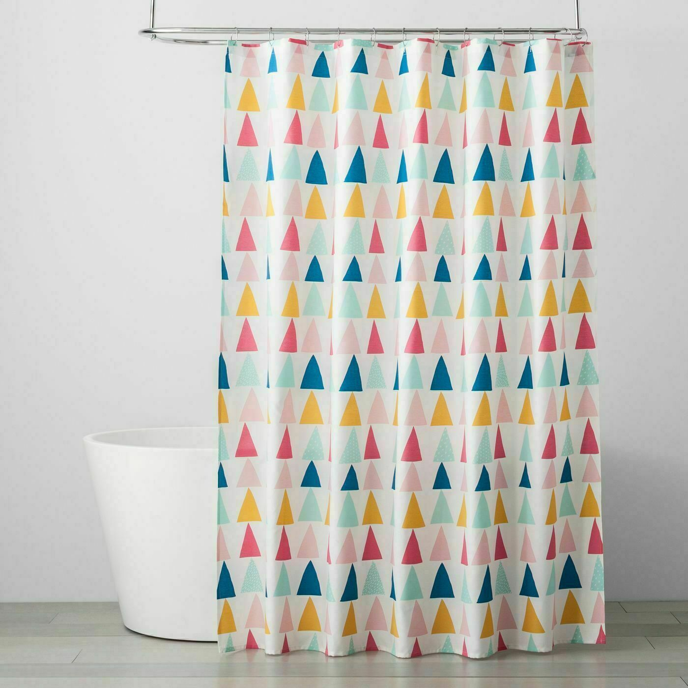 "Pillowfort Triangle Pattern MultiColor Shower Curtain 72"" x 72"", New in package."